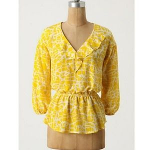 Anthro Girls From Savoy Sunny Safari Blouse Small